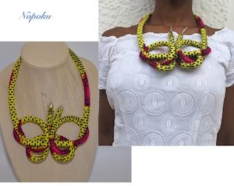 Yellow Ankara necklace, African necklaces, Statement necklace,Artisan necklaces, Jewelry, gift,African shop,Handmade necklace,Unique jewelry