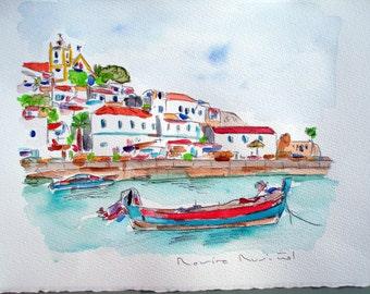 Only ORIGINAL WATERCOLOR / soft Algarve / Portugal / Rovira by Rusiñol 35 x 25 cm
