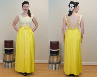 1960s Vintage Evening Dress - Sunshine Yellow Lace and Raw Silk Bodied Evening Gown