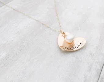 Gold Filled Heart Necklace with Cultured Freshwater Pearl