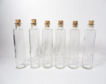 Set of 6 Corked Bottles - Small Display Glass Bottles