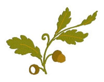 BUY 2, GET 1 FREE - Fall Acorn and Leaves machine embroidery design - 4x4, 5x7, 6x10 - Autumn Flourish, Thanksgiving, Element