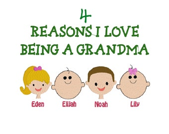 Reasons I Love Being a Grandma, Grandpa, Daddy, Mommy, Aunt, Uncle, Sister, Brother Family Faces Machine Embroidery Design - 5x7, 6x10
