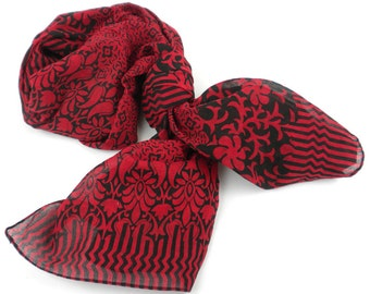 Deep Red and Black Floral Cotton Scarf