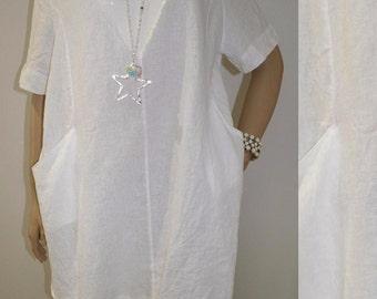 38 40 42 44 / 10 12 14 16 Italian Linen Lagenlook Tunic Dress Pockets Quirky Sequins