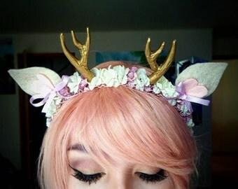 Lavender Woodland Deer Antler Flower Crown Headband