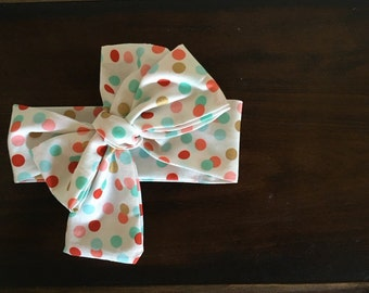Rosie Wrap-headwrap; mulit poka dot fabric head wrap; newborn headband; baby headband; toddler headband; adult headband; girl headwrap