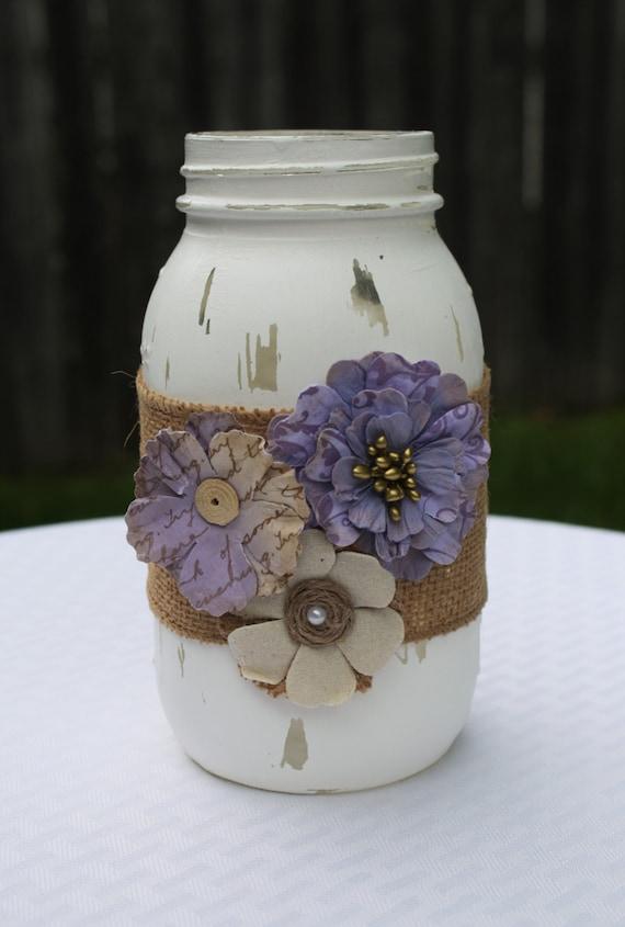 Mason Jar Distressed Mason Jar Purple Mason Jar Home Decor