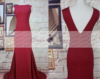 Mermaid Evening Gowns 2017,Sexy Bridesmaid Dress Burgundy,Wine Long Formal Evening Dress,Cap Sleeve Tight Prom,Burgundy Jersey Prom Dresses