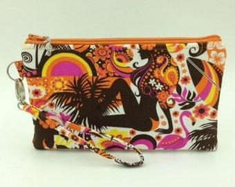 Clutch, Wristlet, Clutch Purse, Evening Bag, Bridesmaid Clutch, Zippered Bag in Mod Girl Print - Made in Maui