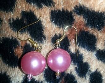 Pink Frost Ball Drop Earrings