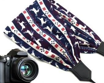 Deer scarf camera strap. Black DSLR, SLR Camera Strap. Soft camera strap with animals and Christmas symbols. Perfect Christmas gift idea!