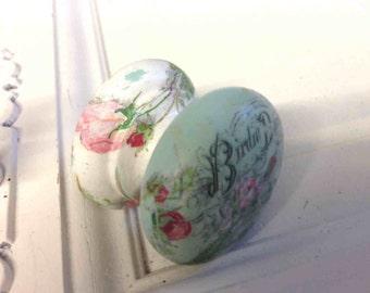 Birdie vintage ad eggshell blue shabby chic cupboard knobs drawer pull