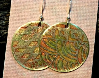 Handcrafted Etched Brass Earrings #70312