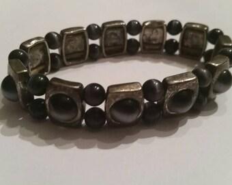 Vintage Silver Black Glass Bracelet Costume Jewelry