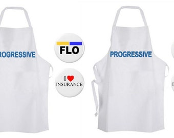 Flo + Jamie Hype Man Progressive Insurance His / Hers Couples Costumes Apron ADULT NEW Funny Humor Commercial Name Badge Tag Pin Pinback
