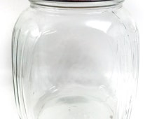 Vintage Hoosier Style Canister Jar With Chippy Rusty Red Lid