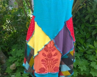 Upcycled t-shirt dress tunic turquoise embroidered flowers bright harlequin