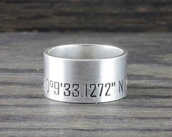 Personalized ring, Latitude Longitude wide band ring, Coordinates Ring,  Latitude Longitude Ring,  Location Ring, wide band ring FT5