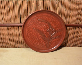 Vintage Japanese Round Wood Carved Orchid Lacquer Tray