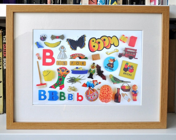 Limited Edition Alphabet Collage Print With Mount: B Is For...  Original, Vintage-Themed, Unframed