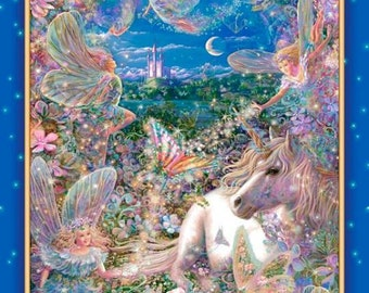 Dreamland Digital Cotton Print Panel 24 Inches wide 43 inches in length with Unicorns and Fairies