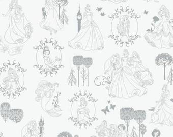 Stone Toile Disney Princess cotton fabric, Camelot Fabrics