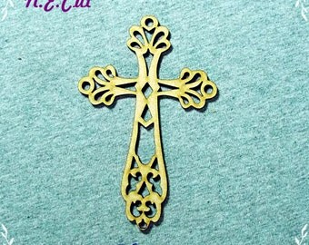 6 Pack of Filigree  Crucifix  75mm from 3mm MDF CTD159