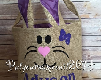 Monogrammed Easter Basket - Personalized Easter Basket - burlap basket - Bunny Basket - easter basker with ears