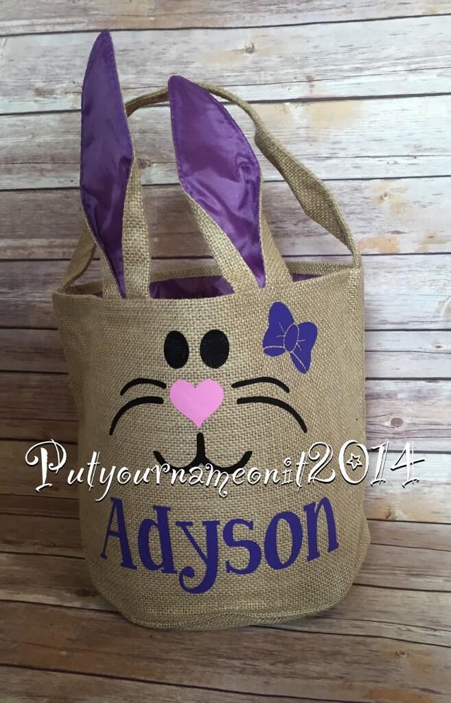 Personalized Easter Basket Burlap Basket Bunny Basket
