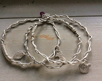 Trio of Twisted Silver Charm Keepsake Bangles