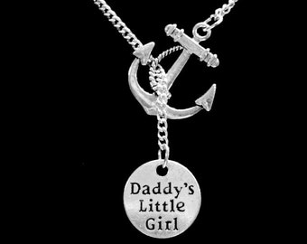 Gift For Her, Daddy's Little Girl Necklace, Anchor Daughter Gift, Y Lariat Necklace