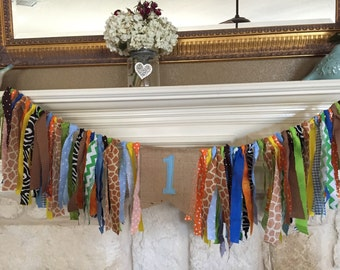 Safari party Zoo first birthday party decor Rag Garland Banner Highchair Banner -  Blue Orange Brown Green Yellow Animal Print