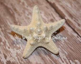 Starfish Hair Clip-Mermaid Hair Clip-M2M Eleanor Rose-M2M Under the Sea-Baby-Toddler-Girls-Bridal Flower Clip