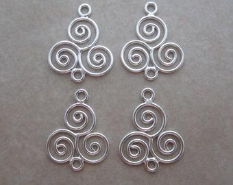 4 sterling silver triple swirl link connectors drop