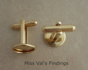 12 gold plated bezel cuff link findings with 12mm pad