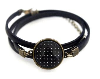 "Bracelet black leather 3 rounds with cabochon ""white polka dots on black background"" bronze brass vintage"