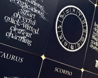 16 Printed Journalling cards: Astrology Zodiac