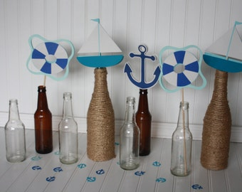 Nautical First Birthday Decorations - Nautical Centerpieces - Nautical Party - Beach Party - Beach Shower - set of 5