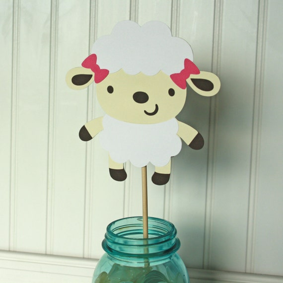 Girl Lamb Baby Shower 5 Lamb Centerpiece Stakes Lamb Party