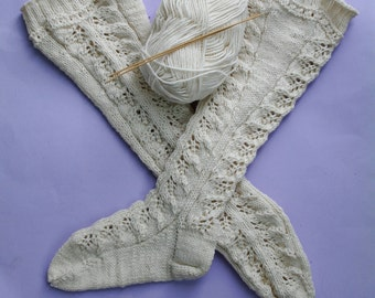 Hand knit knee socks:  hand knit stockings, over knee wool socks, knit knee high socks, boot socks, white lace stockings, white leg warmers