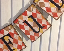Fall Bunting Garland Banner Sign Thankful Autumn Colors Shabby Distressed Grunge Thanksgivine Primitive
