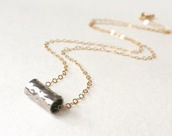 Mixed Metals Necklace- Hammered Sterling Silver Barrel Bead Necklace- Gold Chain Necklace- Layering Necklace- Boho Necklace- Silver and Gold
