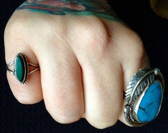 Native American Navajo Indian Malachite + Sterling Silver Pinky Ring Size 5.5