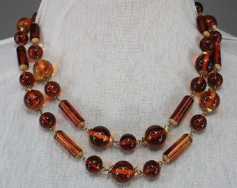 Amber Root Beer & Gold Vintage 60s Necklace Double Strand Beaded Choker