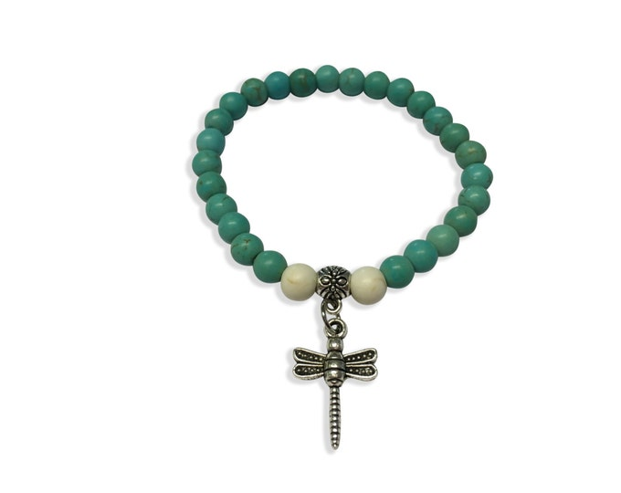 Turquoise Bracelet, Dragonfly Bracelet, Turquoise Cuff Bracelet with Dragonfly, White Beads