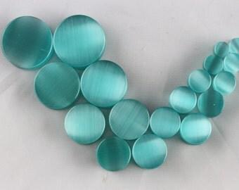 Aqua Blue Cat's Eye plugs (pair) - ear gauge jewelry plugs - GemStone Natural Organic Saddle Fit Ear Gauges Plugs - PB23
