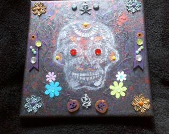 Square mixed-media canvas - sugar skull