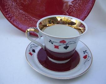 Omielow Playing Cards Teacup Tea Cup Saucer Poland Gold Burgundy