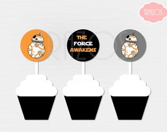 BB-8 Cupcake Toppers - Star Wars Cupcake Toppers - BB8 Birthday - Instant Download